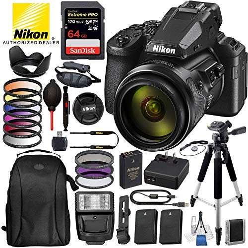 """Nikon COOLPIX P950 83x Optical Zoom Digital Camera (USA 26532) with 16PC Accessory Bundle Package – Includes: SanDisk Extreme PRO 64GB SDXC Memory Card + 2X Extended Life Battery + 57"""" Tripod + More"""