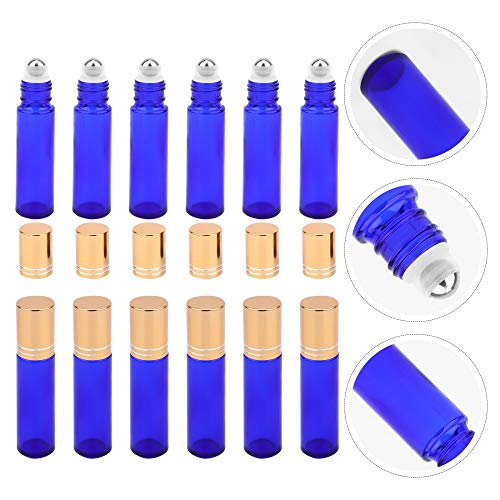 XiaoG Botellas de perfume, 12 unidades, rellenables, aceites esenciales, botella de perfume (color: azul)