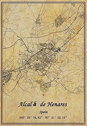 Póster de mapa de Alcalá de Henares de España con impresión en lienzo de estilo vintage, sin marco, decoración de regalo de 50 x 70 cm