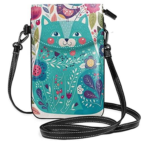 Bolso cruzado pequeño para teléfono celular, lindo gatito rodeado de pájaros flores mariquitas inspirador bebé folk tema foto