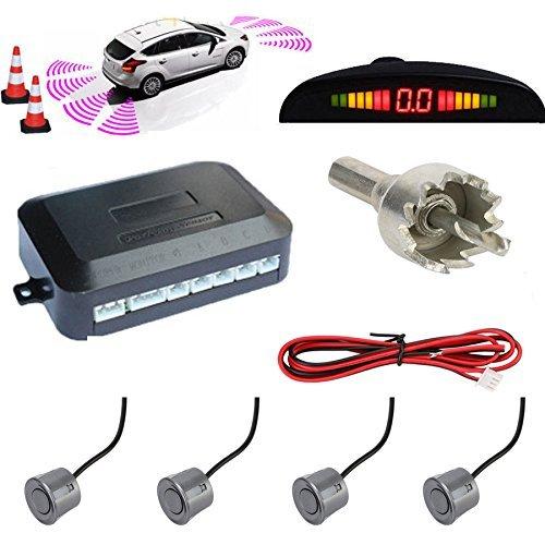 TKOOFN KFZ Summer Einparkhilfe Rückfahrhilfe 4 hinten Sensoren Hinter mit LED Farb Display Auto Parken Sensor System Pieper Radar Kit für Hinter Grau