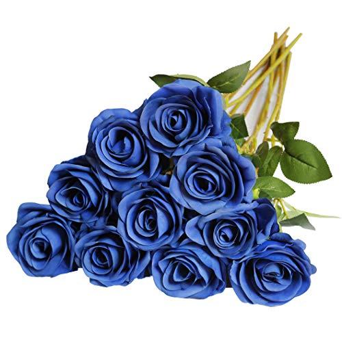 DuHouse 10 rosas artificiales de seda con flores de imitación de rosas largas para arreglo, boda, centro de mesa, fiesta, hogar, cocina, decoración (azul real)