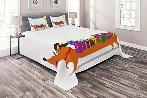 Dachshund 4 Piece Duvet Cover Flat Sheet and 2 Pillow Shams Bedding Set for Adult/Kids/Children/Teens, Full Nursery Themed Cartoon of Sausage Dog with Gift Boxes on Back and Balloon Tail, Multicolor