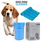 HomeFoundry Portable Dog Paw Washer with Towel - for Dog Cat Grooming with Muddy Paws Soft Silicone Puppy Feet Washer (Small, Blue)