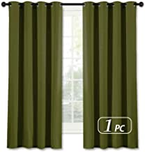 NICETOWN Blackout Short Curtain for Small Window - (Olive Green Color) Home Decor Window Treatment Drape Modern Design Drapery for Kitchen Room, 52Wx63L,1 Panel