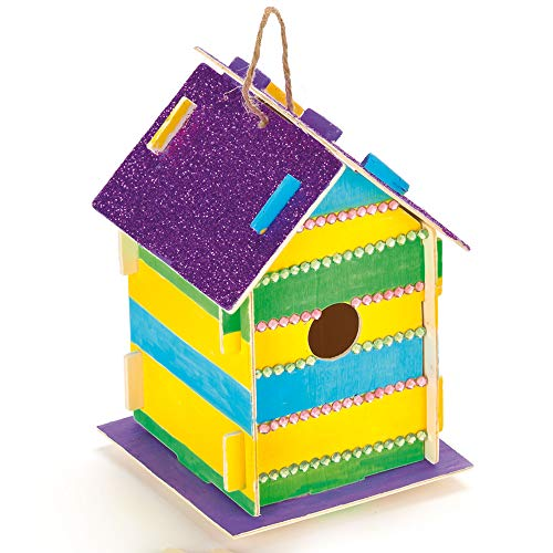 Baker Ross Wooden Birdhouse Kits (Pack Of 2) For Kids To Make & Decorate