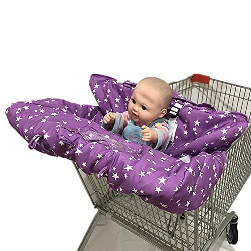YUIf Trolley Ligero Plegable de Lujo de Lujo de Alta Gama 2 en 1 Casta de Compras de bebé Cubre Cubiertas de Silla Alta con arnés de Seguridad para bebés niño pequeño 719 (Color : Purple Stars)