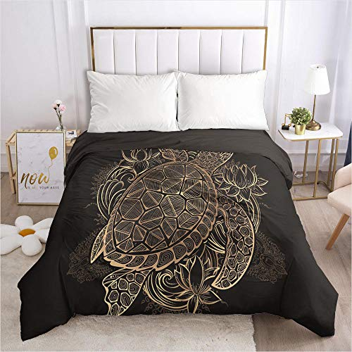 lhmlyl mattress protector 3D bedding quilt cover black gold pattern-Black 034-Black-Q1_260*220cm