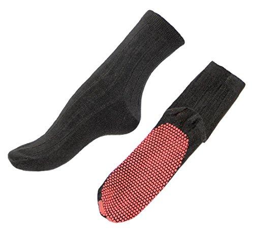 Wärme-Socken mit Turmalin-Noppen, doppeltes Bündchen für angenehmen, selbstwärmend, waschbar, Immer Wieder verwendbar, Infrarot (M)