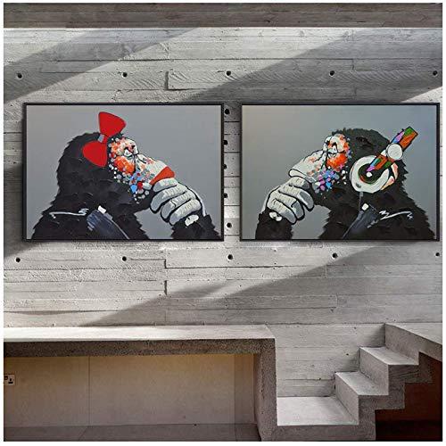 RuiChuangKeJi Cuadro en Lienzo Mono Auricular Música Moda Animal Divertido Cartel Arte Abstracto Impresión Moderna Sala de Estar Decoración Imagen 2x60x80cm Sin Marco