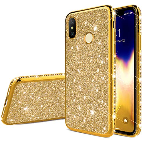 JAWSEU Bling Glitter Case Compatible with Xiaomi Mi 8, Sparkle Shiny Diamonds Design Soft TPU Silicone Ultra Thin Slim Fit Gel Rubber Bumper Plating Case Shockproof Protective Cover,Gold