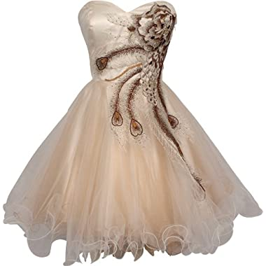Metallic Peacock Embroidered Holiday Party Homecoming Prom Dress, Large, Ivory