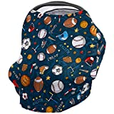 Car Seat Canopy Nursy Cover Sport, Multi Use Breastfeeding Scarf for Infant Carseat Canopy Stroller Shopping Cart Highchair Many Basketball Baseball and Football Icons Champ Gloves Dark Backdrop