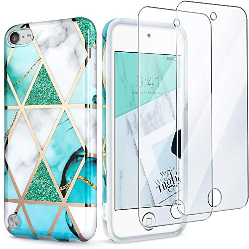 IDWELL iPod Touch Case with 2 Screen Protectors, iPod Touch 7 Touch 6 Touch 5 Case, Slim FIT Anti-Scratch Flexible Soft TPU Bumper Protective Case (Latest Model,2019 Released), Glitter Blue Plating