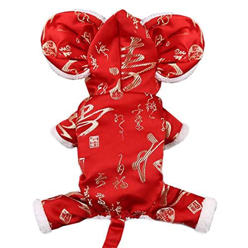 Bangcool Huisdier Nieuwjaar Kostuum, Chinese Tang Pak Nieuwigheid Mooie Puppy Kostuum/Huisdier Cosplay Kostuum Huisdier Kleding voor Kat Hond, XL, Rood