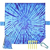 Outdoor Beach Blanket Picnic Mat - Lightweight Waterproof Sand Free Oversized Beach Accessories for Travel,Camping,Hiking Vacation Music Festivals Fast Drying Washable for 4-8 Adults Tie Dye Blue
