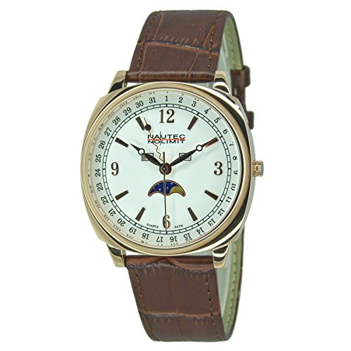 Nautec No Limit Unisex Erwachsene Mondphase Quarz Uhr mit Leder Armband 126203