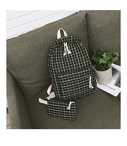 Angle-w Design Elegante, Viaggio Semplice, 2Set Plaid Pattern Backpack Donne Donne Borsa a Tracolla Nuovo Adolescente Girl School Backpack Scaffi Andiamo Oltre (Color : Black 2set, Size : XL)