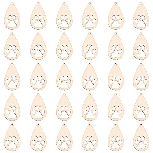 OLYCRAFT 30 colgantes de madera de lágrima con forma de lágrima, colgantes de madera natural y hueco, diseño de huellas de perrito, diseño de huellas de perrito, pendientes de joyería en blanco
