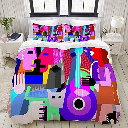 ZELXXXDA Bedding Juego de Funda de Edredón,Picasso La Pareja de Baile y la Mujer Tocando la Guitarra Danza Fina Cubismo Abstracto,Funda de Nórdico y 2 Fundas de Almohada Double