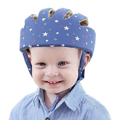 Casco de seguridad ajustable para bebé Protectores para la cabeza Arnés de protección Sombrero Proporciona un entorno más seguro al aprender a gatear Jugar a pie (Estrella Azul)