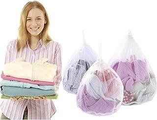Nuluxi Bolsa de Lavandería Blanca para Lavadora Engrosadas Bolsa de Lavandería Bolsa de Lavado Reutilizable con Cordón para Ropa Interior Calcetines Sujetadores Camiseta y Ropa de Cama(3 Tallas)