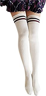 Bullidea Women Girls Long Striped Over Knee Socks Cotton Thigh-High Stockings Warmer Soft Crochet Leggings White One Size