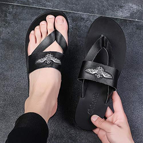 dihui Sandalias Deslizantes Unisex,Zapatos de Playa para Exteriores de Verano, Chanclas y Chanclas Casuales Antideslizantes-Negro_40,Chanclas para Hombre