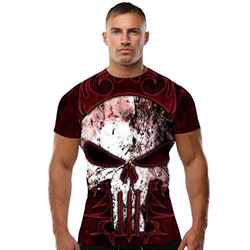 A. M. Sport Camiseta Licra compresiva Hombre Fitness Deportiva. (Calavera roja) -...