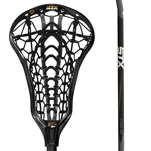 STX Lacrosse Crux 600 Women's Complete Stick with Launch II Pocket, Black/Black