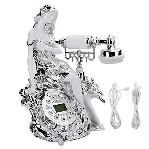 YUN Teléfono con Cable Estilo Retro Teléfono Fijo Doméstico Dial Redondo Luz De Fondo Oficina Escritorio Teléfono Fijo