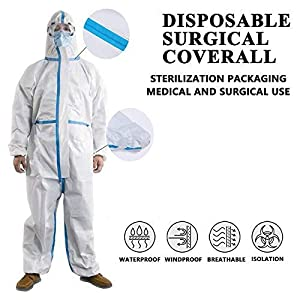 Protective Medical Overalls Disposable Coveralls for Fluid Protection with Blue Reinforced Isolation Seam Elastic Cuff and Hood 1 PACK (XL)