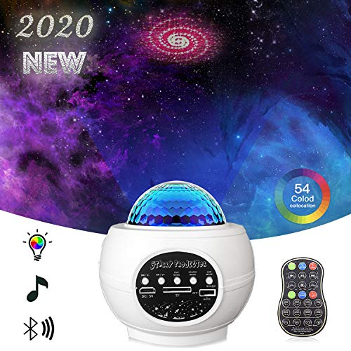 Star Projector Night Light Projector with LED Galaxy Ocean Wave Projector Bluetooth Music Speaker for Baby Bedroom,Game Rooms,Party,Home Theatre,Night Light Ambiance-HK White