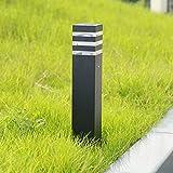 Außenleuchte Pollerlampe Schwarze Außen-Standleuchte Wegeleuchte Aluminium Outdoor Gartenlampe E27-Fassung Ockelleuchte Pfad-Wege-Beleuchtung Rasen Lampe,13 * 13 * 40CM