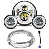 7' LED Headlight 4.5 Passing Lights for Road King/Road Glide/Street Glide/Electra Glide with Bracket...
