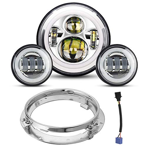 7' LED Headlight 4.5 Passing Lights for Road King/Road Glide/Street Glide/Electra Glide with Bracket Mounting Ring and Wire Adapter (Chrome Set-Silver)