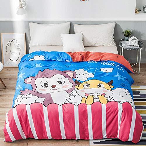 Wzhfsq Fxirza 3 Pieces Duvet Cover,3D Printed Cartoon Animal Monkey Cow 260 * 230Cm Bedding Set,2 Pillowcases,Hidden Zipper,Polyester Fiber Sport Quilt Cover
