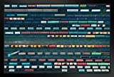 Colorful Freight Train Cars Locomotives at Depot Aerial View Art Print Stand or Hang Wood Frame Display Poster Print 13x9
