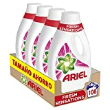 Ariel Detergente Lavadora Líquido, 108 Lavados (Pack 4 x 27), Fragancia Sensaciones