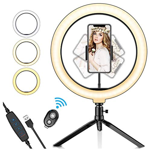 """10"""" Selfie Ring Light with Tripod & Cell Phone Holder for Live Stream/Makeup   Dimmable Mini Table Camera Ringlight for TikTok YouTube Video/Photography"""