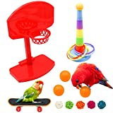 Juego de 8 juguetes para loros de baloncesto, para entrenamiento de baloncesto, anillos de entrenamiento, monopatín, pájaros, juguete educativo para la formación de loros de pájaros (H01)