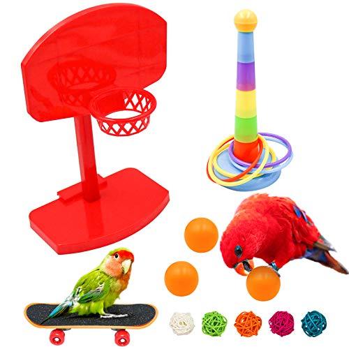 Papageienspielzeug-set 8 Stück, Mini Basketball Trainingsspielzeug, Trainingsringe, Skateboard, Haustier Vögel Kauspielzeug Pädagogisches Spielzeug Für Die Ausbildung Von Vogelpapageien (H01)