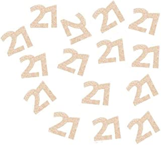 """Double Side Glitter Rose Gold 21st Birthday Party Number 21"""" Paper Cut Outs/Paper Confetti/Table Scatter Table Confetti Bi..."""