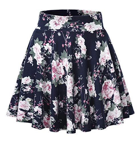 Urban CoCo Women's Floral Print Flared Mini Skater Skirt (XL, 3)