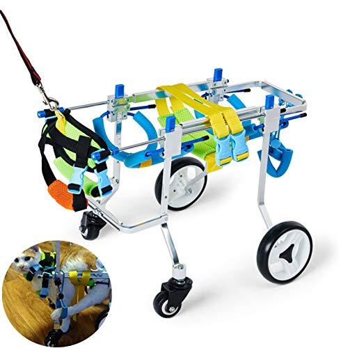 Cuatro ruedas Carrito Silla de ruedas PET protege el pecho y las extremidades para el soporte de cuerpo completo para el perro de aleación de aleación de aluminio para perros para discapacitados.,XS