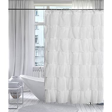 Gee Di Moda Gypsy Luxury Ruffle Bathroom Shower Curtain, 70  x 72 , White