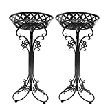 Sungmor Lightweight Metal Flower Pot Stands - 2 Pack 29.7 Inches Tall Black Plant Stand - Rustproof Potted Plant Holder Container Support - Indoor & Outdoor Elegant Corner Decorative Display Rack