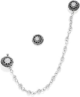 Zaveri Pearls Silver Tone Clip-on Nose Pin Chain Linked With Stud Earring For Women-ZPFK7413