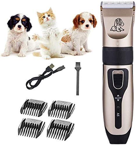 Stainless Steel Hair Clipper Dog Grooming Clippers for Pets, Cat Hair Trimmer Kit, Best Cordless Dog Clippers Low Noise, Professional Hair Clipper Set with 4 Comb Hair Cutting Tools