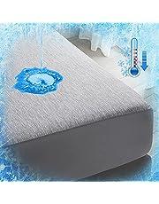 Luxear Spännlakan kylande, vattentätt madrasskydd Arc-Chill Q-Max 0,43 kylfibrer, dra-på-lakan antikvalster för allergiker baby, madrasskydd madrasser topper